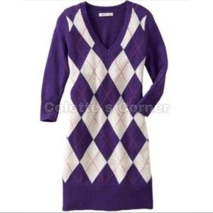 Old Navy Purple Argyle Sweater Dress